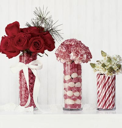 Candy lined vases