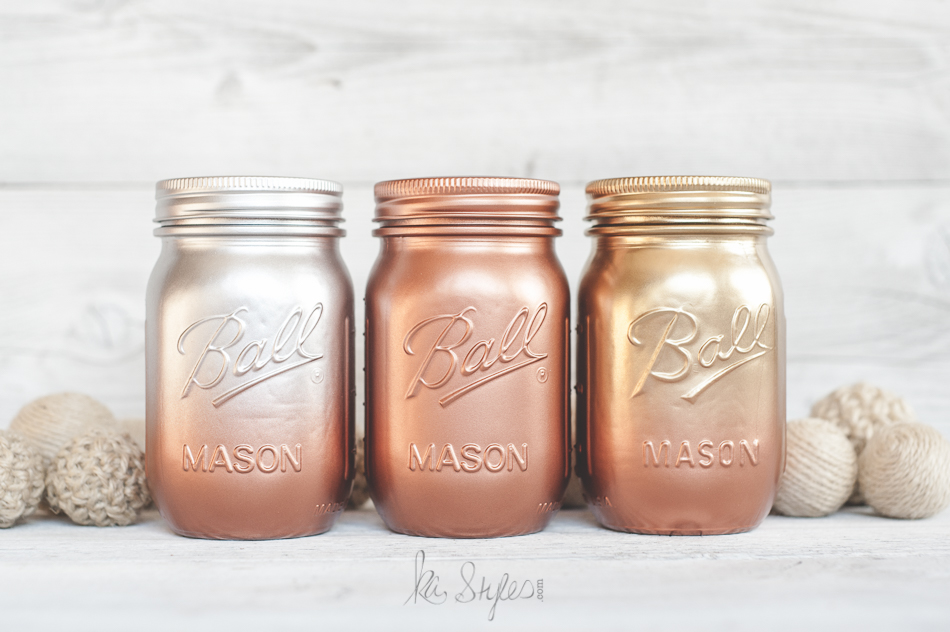 metallic-ombre-painted-mason-jars