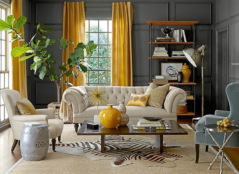 Eclectic-living-room-with-gray-walls-and-yellow-drapes.jpg